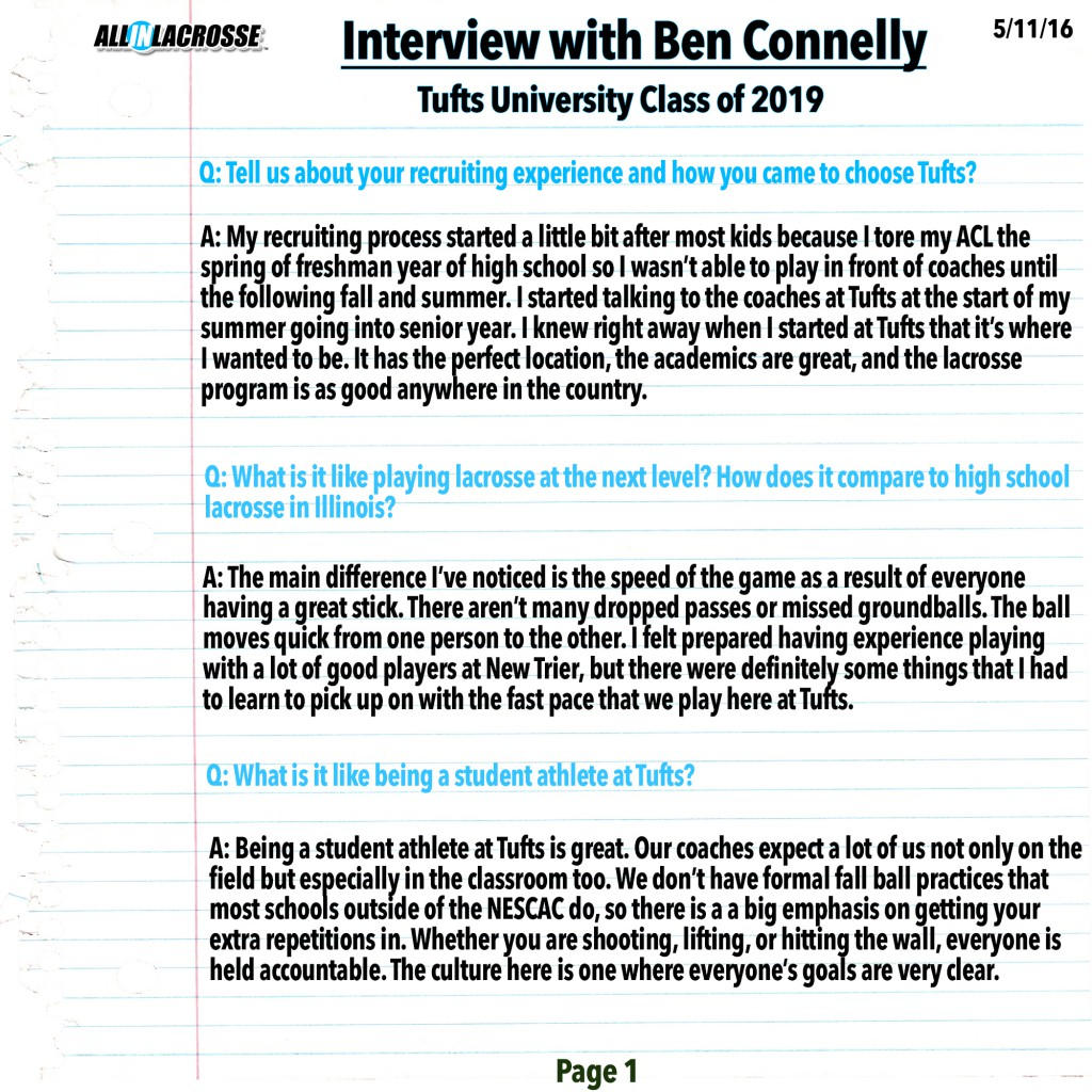Ben Connelly Interview Page 1