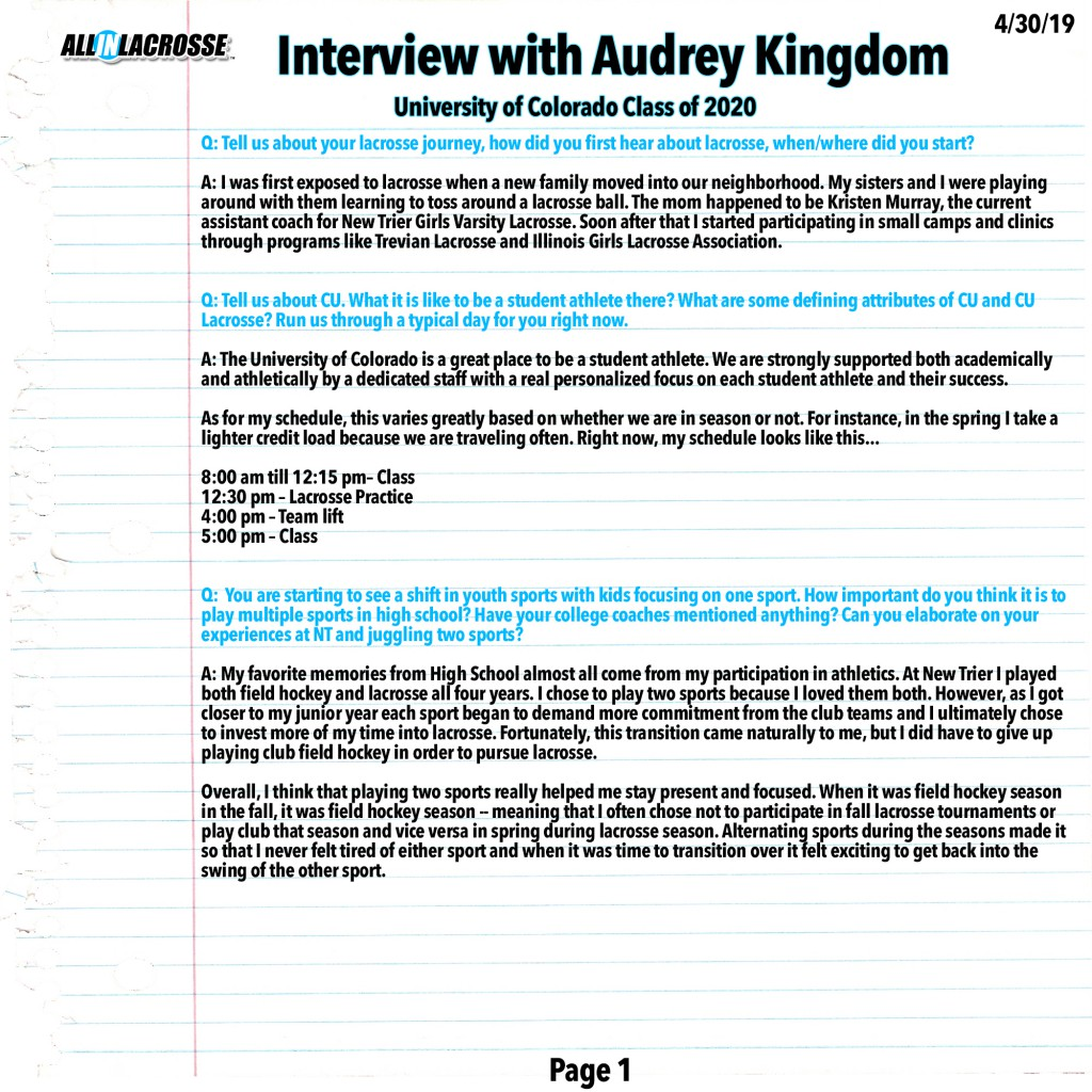 Audrey Kingdom Interview